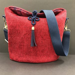 Red Chennile Bucket Bag, Large