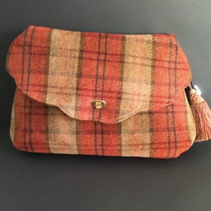 Chenille Plaid Velvet Large Bag