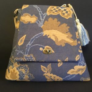 Tapestry Triangle Bag, Blue/Beige